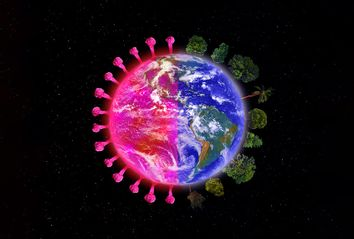 Planet Earth with Coronavirus and Trees