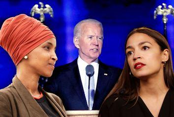 Joe BIden; Ilhan Omar; Alexandria Ocasio-Cortez