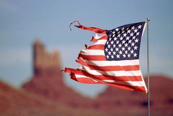 A tattered American flag