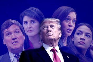 Donald Trump; Alexandria Ocasio-Cortez, Tucker Carlson; Nikki Haley; Kamala Harris
