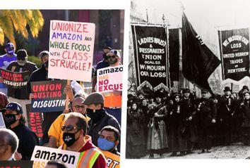 triangle shirtwaist fire demonstration; amazon labor organizing