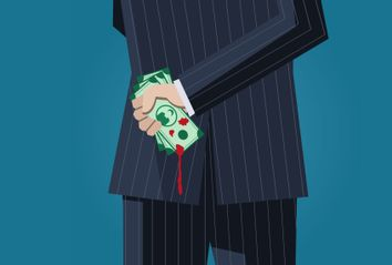Business man with bloody money behind his back
