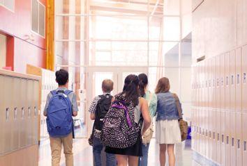 Students walking in corridor