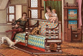 Medieval family and their pet dog and monkey