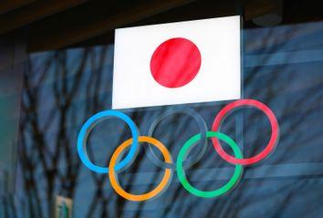 Japanese flag; Olympic Rings
