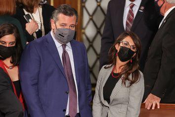 Sen. Ted Cruz, left, and Rep. Lauren Boebert