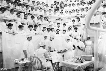 Medical students watching a body dissection, at the Women's College Hospital, Philadelphia.