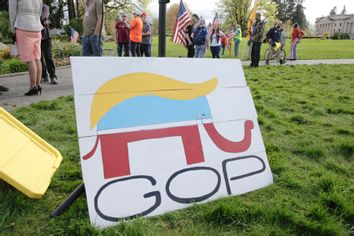 A Republican Party elephant logo pictured with the hair of US President Donald Trump.