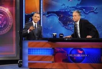 President Barack Obama and Jon Stewart on