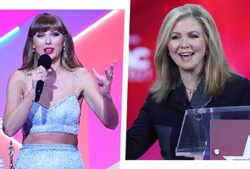Taylor Swift, left, and Sen. Marsha Blackburn, R-Tenn.