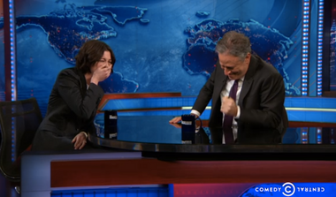 Image for Jon Stewart and Anne Hathaway have a seriously adorable case of the giggles
