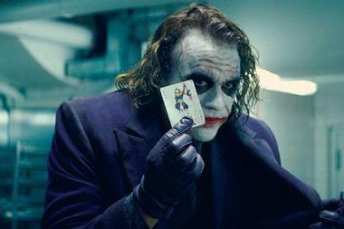 "Heath Ledger as the Joker in ""The Dark Knight"""