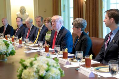 President Donald Trump speaks in the Cabinet Room