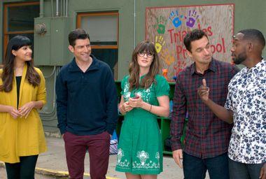 "Hannah Simone, Max Greenfield, Zooey Deschanel, Jake Johnson and Lamorne Morris on ""New Girl"""