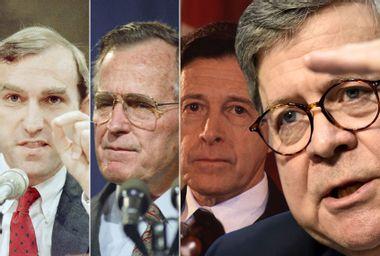 Elliott Abrams; George H. W. Bush; Caspar Weinberger; William Barr