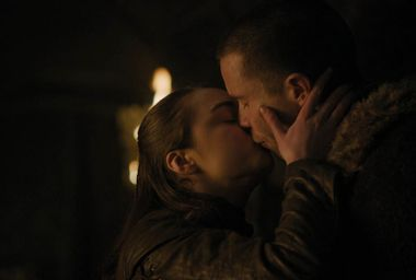 "Maisie Williams as Arya and Joe Dempsie as Gendry in ""Game of Thrones"""