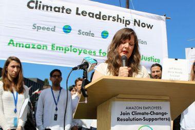 Amazon employees confront Jeff Bezos to demand climate justice; Bezos hides backstage