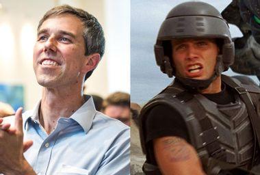 """Former Rep. Beto ORourke (D-TX); Casper Van Dien in """"Starship Troopers"""""""