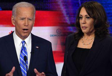 Democratic presidential candidates former Vice President Joe Biden and Sen. Kamala Harris (D-CA)