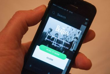 Beatles music collection on Spotify on a mobile phone