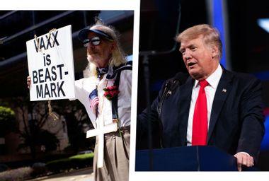 Donald Trump; CPAC; Anti-vaccine rally protesters