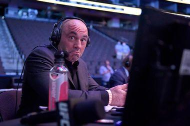 Announcer Joe Rogan reacts during UFC 249 at VyStar Veterans Memorial Arena on May 09, 2020 in Jacksonville, Florida.