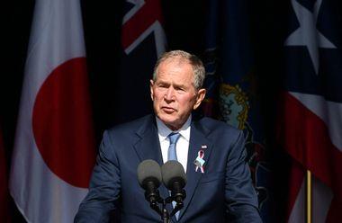 Former US President George W. Bush speaks during a 9/11 commemoration at the Flight 93 National Memorial in Shanksville, Pennsylvania on September 11, 2021.