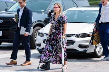 Sen. Kyrsten Sinema, D-Ariz., is seen outside the U.S. Capitol before the Senate passed the Infrastructure Investment and Jobs Act on Tuesday, August 10, 2021.