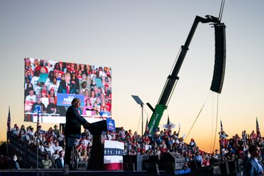 Former US President Donald Trump speaks at a rally on September 25, 2021 in Perry, Georgia.