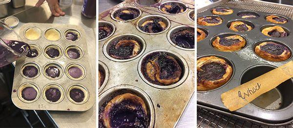 trial and error; ube custard tarts