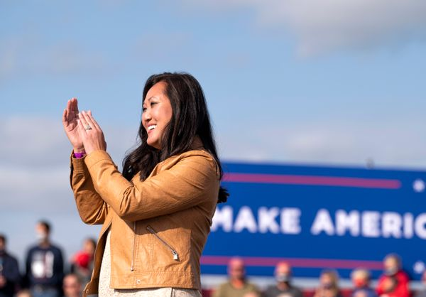 Minnesota Republican Party chair Jennifer Carnahan looks on during the national anthem during a rally for President Donald Trump at the Bemidji Regional Airport on September 18, 2020 in Bemidji, Minnesota.