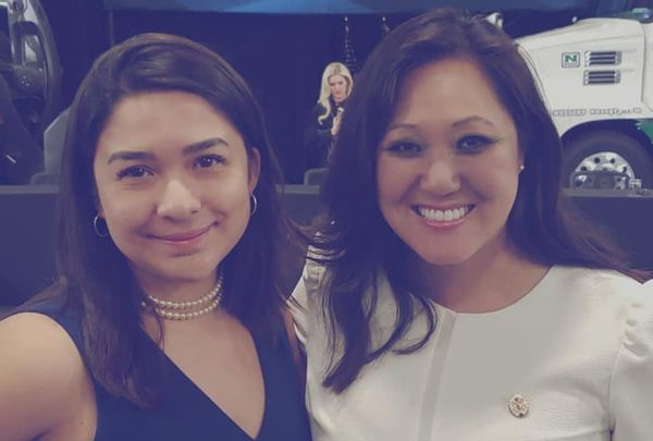 Former Minnesota GOP staff member Kayla Khang, left, with former Chairwoman Jennifer Carnahan.