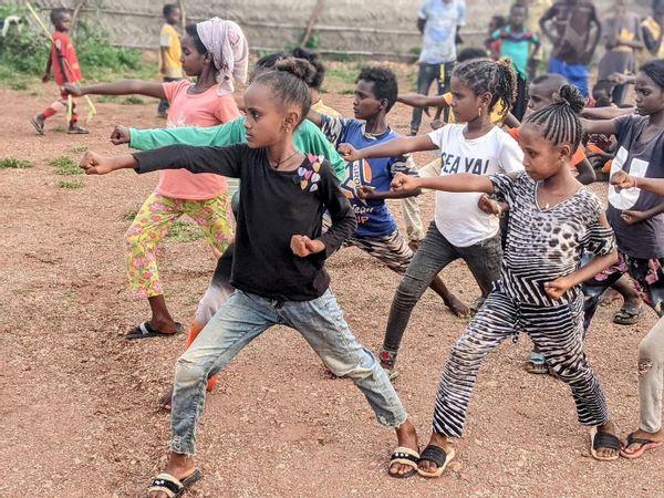 Tigrayan refugee children practice Tae Kwon Do in Um Rakuba refugee camp