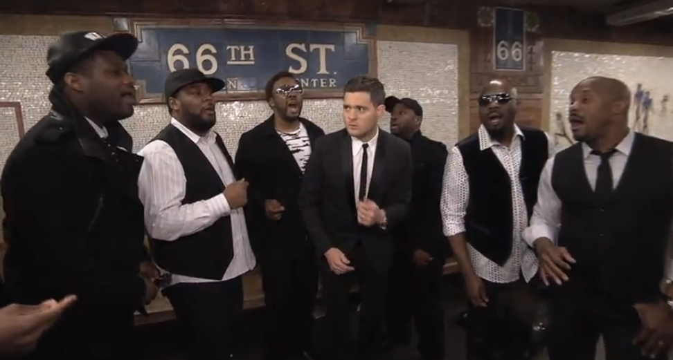 Michael Bublé sings with a cappella group in NYC subway