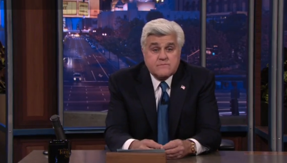 "Jay Leno bids his ""Tonight Show"" fans a teary-eyed farewell"