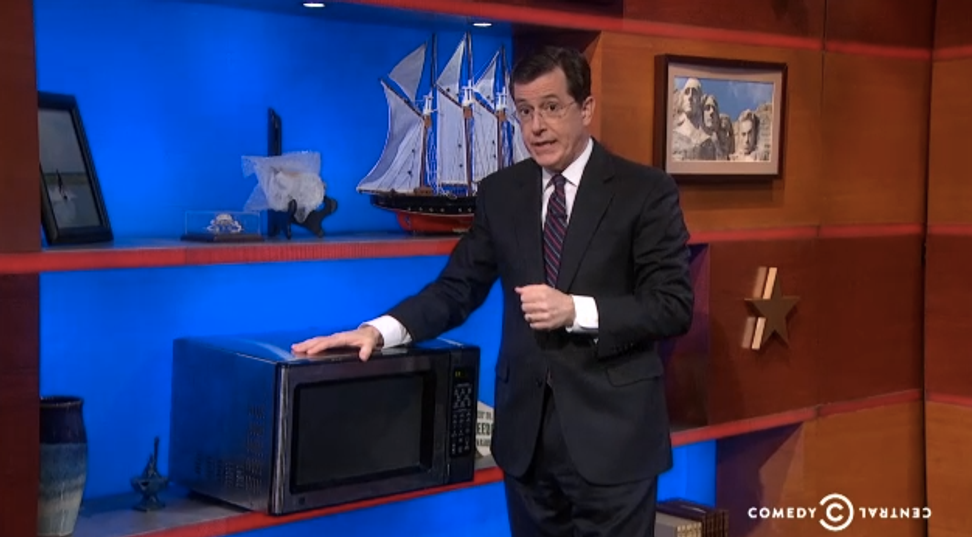 Stephen Colbert is auctioning off the microwave he stole from Bill O'Reilly