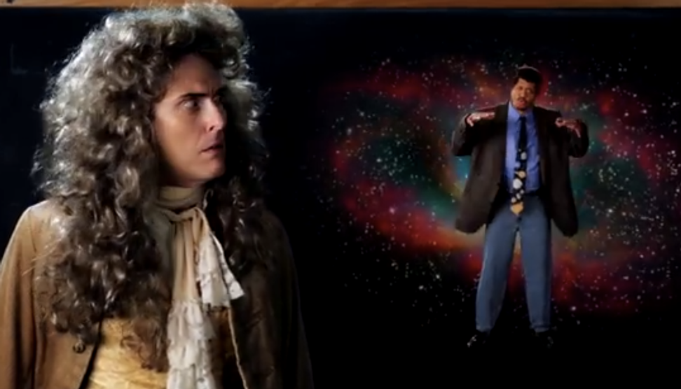 Sir Isaac Newton, Bill Nye and Neil deGrasse Tyson engage in an epic scientific rap battle
