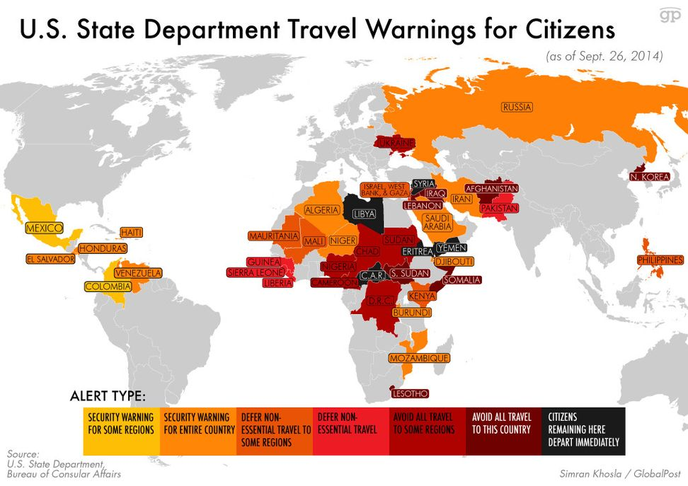 U.S. government to American people: Stay away from these countries