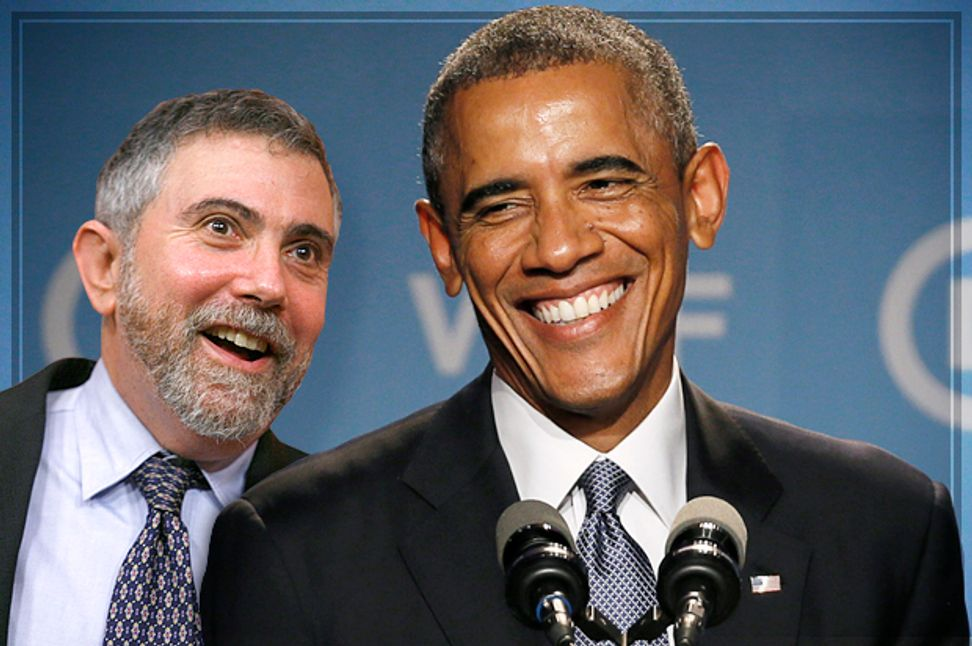 Paul Krugman does his victory dance, celebrates the defeat of feeble-minded austerity politics