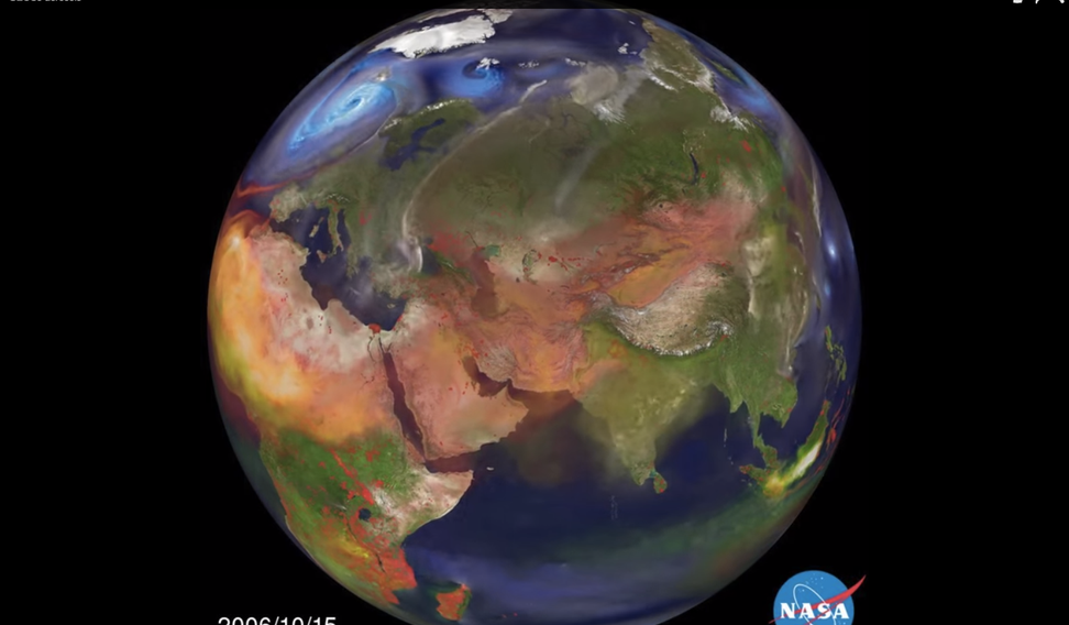 Frightening video shows Asia's air pollution spread across Earth