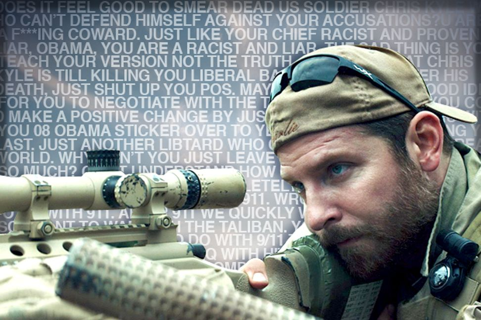 """My first impulse is to call you a dumb Obama ass-licking c**t"": ""American Sniper"" fans tell me off 