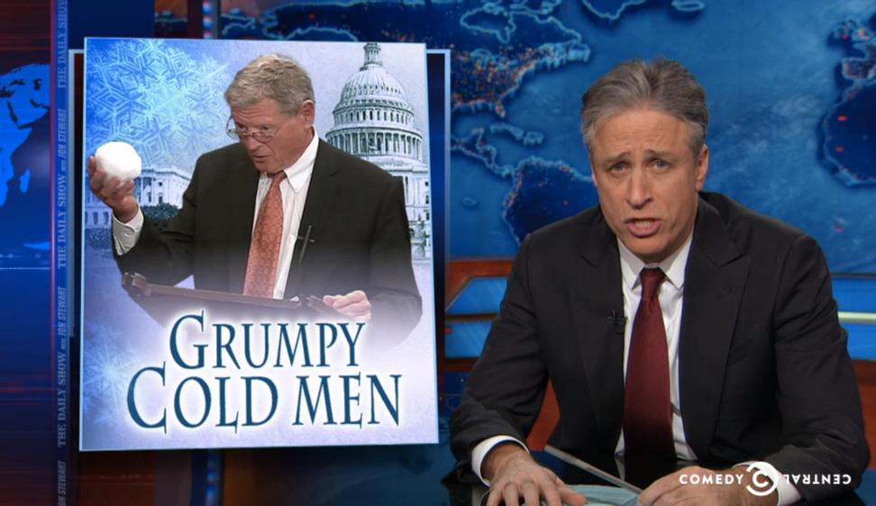 Jon Stewart blasts GOP senator for saying that snowballs disprove global warming