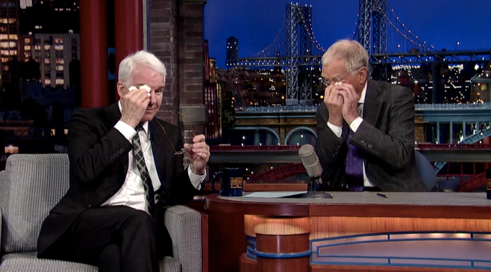 Steve Martin preps David Letterman for retirement — and things get emotional