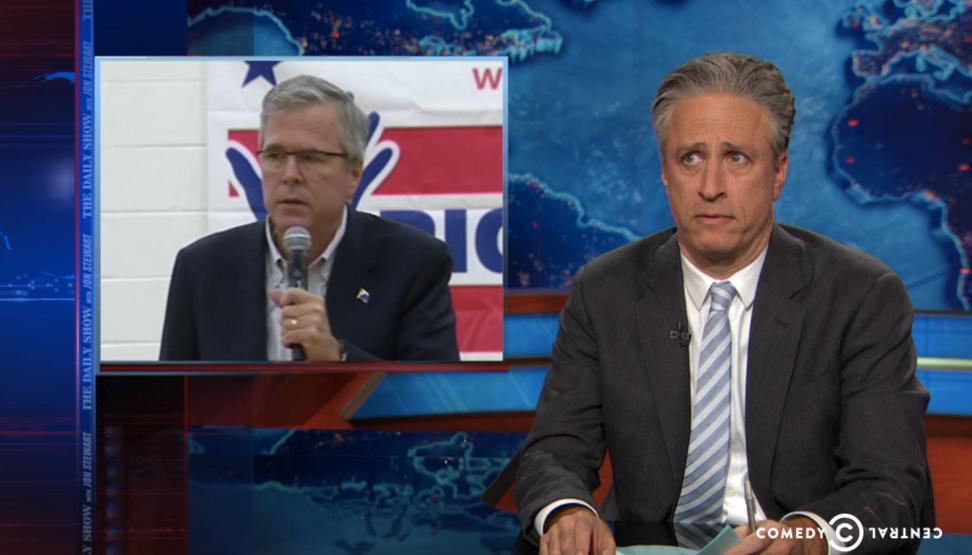 Jeb Bush's glorious downfall gets the Jon Stewart treatment