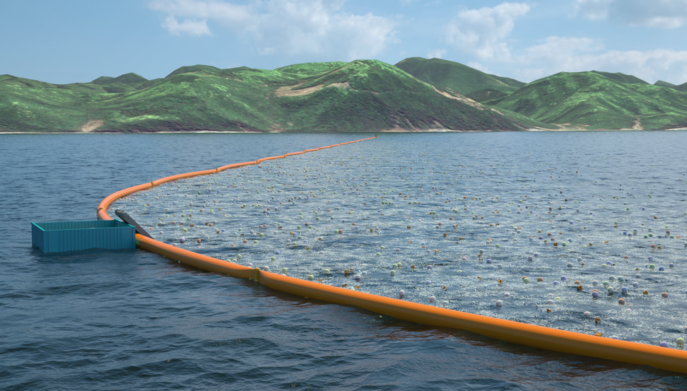 This mile-long, floating device is taking on the ocean's plastic pollution