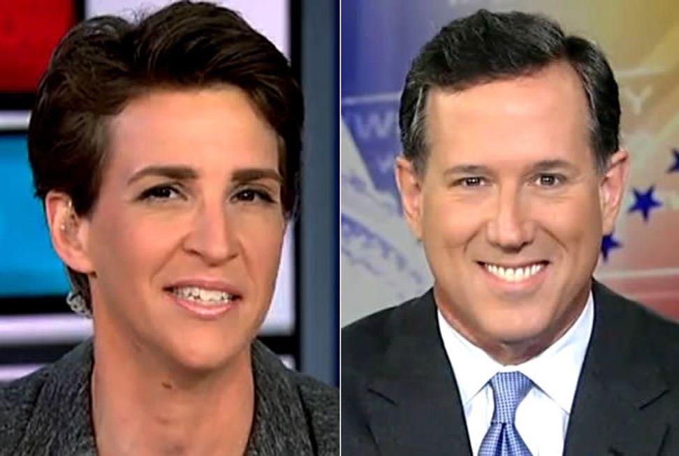 """You're fundamentally wrong on civics"": Rachel Maddow schools Rick Santorum on the Constitution | Salon.com"