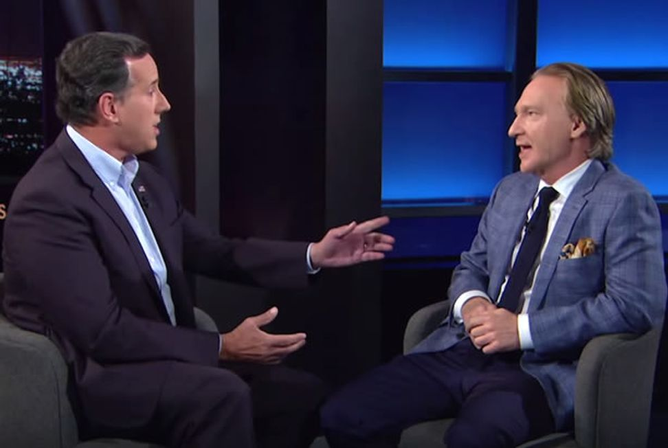 """""""I don't know what ass you're pulling that out of"""": Bill Maher talks climate change with invented-stat-quoting Rick Santorum"""