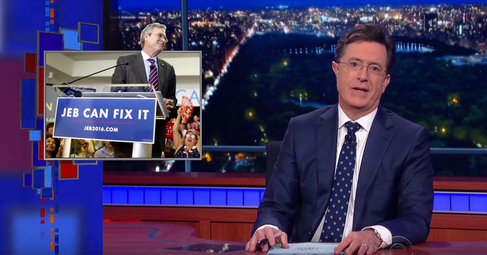 """Stephen Colbert goes to war with Donald Trump: """"Crippled America is just a terrible phrase that sounds deeply offensive. Kind of like 'President Trump'"""""""