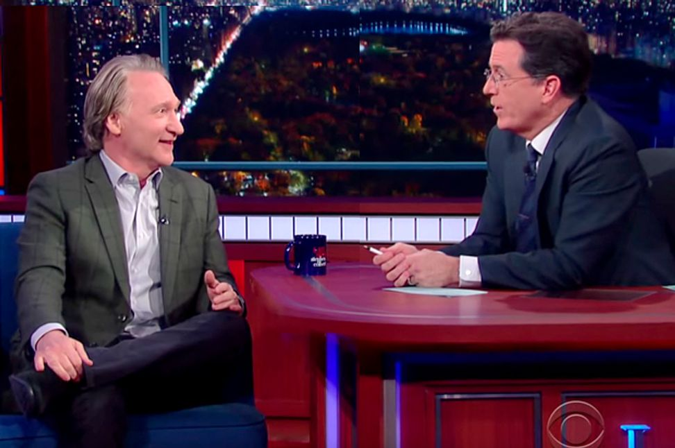 """Bill Maher tangles with Stephen Colbert: The """"Late Show"""" host brings out the best and worst sides of his complicated guest"""