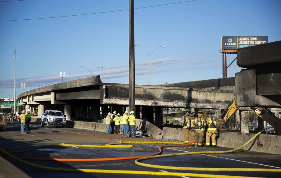 This burning, collapsed Atlanta highway is American infrastructure in a nutshell